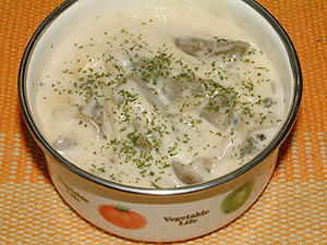 ゴボウとシメジのクリーム煮
