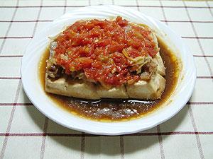 トマトと豆腐の重ね蒸し